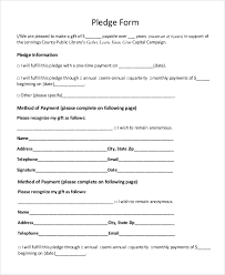 Fundraiser Pledge Form Template 8 Sample Pledge Forms Pdf Word