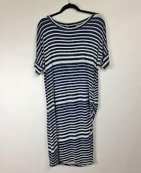 Cabi Gray Dark Blue Striped Ruched Side Short Sleeve Dress