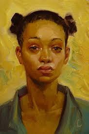 karat john larriva oil on hardboard 2016 contemporary artist female portrait african american black woman face painting