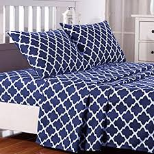 Amazoncom 4 Piece Bed Sheets Set King Navy 1 Flat Sheet 1