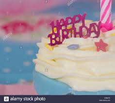 birthday cupcake candles blue. Delighful Candles Happy Birthday Cupcake With White Icing Blue Case And Pink Candle  Stock  Image Intended Candles Blue B