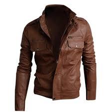 nwt premium men s slim top designed y pu leather short jacket coat brown size l