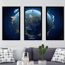 travel our earth planet 3 piece framed wall art set of