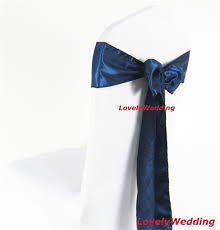 100pcs factory direct high quality navy blue satin chair sash for weddings events party decoration