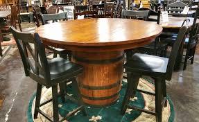 54 round oak barrel table ul ul 202 in stock