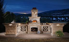 Kitchen Fireplace For Cooking Astounding Modular Outdoor Kitchen Design With Exposed Brick Base