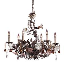 cristallo fiore 6 light ceiling mount deep rust chandelier