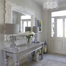 hall console table with mirror. Mirror Above Console Table Hall Shabby-chic Style With Dog Abstract And Stair Runners