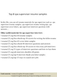 Supervisor Resume Best Top 44 Spa Supervisor Resume Samples