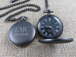 personalized gunmetal pocket watch monogrammed pocket watch like this item
