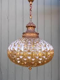 Vintage Mid Century Pendant Light Vintage Amber Glass Hanging Light Pendant Lamp Mid Century