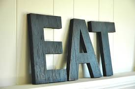eat wall art large letters handmade wood sign homegrown image on black wooden wall letters