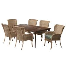 lemon grove 7 piece wicker outdoor dining set with cushionguard surplus cushion