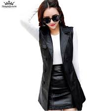 tnlnzhyn 2019 new spring autumn women leather vest waistcoat fashion double ted pu vest coat long leather outerwear y1143