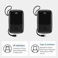 Pin dự phòng tích hợp cáp sạc Baseus Q Pow Digital Display 10,000mAh (3A/  15W, Fast Charge Power Bank With Cable iPhone) - Pin sạc dự phòng di động