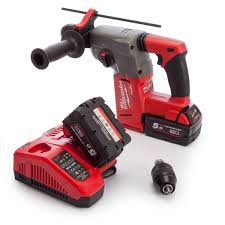 milwaukee hammer drill. milwaukee m18chx-502x sds plus hammer drill with charger and case (2 x 5.0ah batteries)
