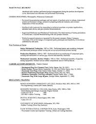 mechanical technician resume