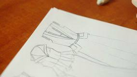 Sketching Clothing Clothing Designer Sketching Stock Footage Video Of Interior Close