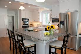 ... Terrific Kitchen Design Using Free Standing Kitchen Island With Seating  : Cheerful Kitchen Decoration Using Black ...