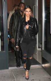 kim kardashian new york city blk dnm leather jacket balenciaga sandals