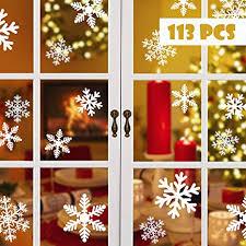 Blooven Schneeflocken Fensterbild Für Winter Und Weihnachten Fensterdeko Set Statisch Pvc Aufkleber Winter Dekoration 113 Stück