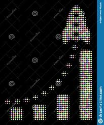 Rocket Business Bar Chart Halftone Collage Of Circles Stock
