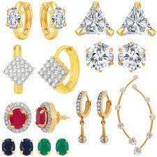Buy Jewels Galaxy Bestselling Combos Of Fancy American Diamond Earrings And  1 Earcuff - Combo Of 9 Online @ ₹799 from ShopClues