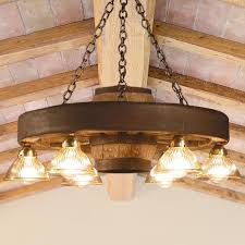 small wagon wheel chandelier with down lights