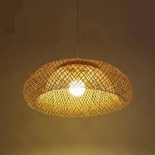 Asian Style Track Lighting Bamboo Wicker Rattan Lampshade Pendant Lamp Hand Woven