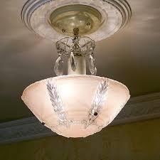 151b vintage art deco ceiling light chandelier fixture glass shade pink 3 lights