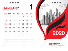 Desk Calendar 2020 Template Vector January 2020 Month Business
