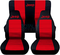 jeep wrangler black and red jeep logo seat covers