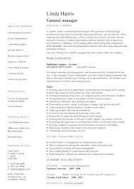 Performance Resume Template General Manager Sample Responsible For