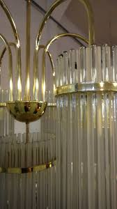 1970s art deco revival brass and glass rod