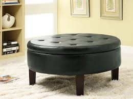 ... Black Traditional Leather Tufted Ottoman Round Storage Coffee Table  Ideas For Living Room Decoration ...