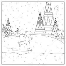 Jongen Sneeuw Schaatsen Kerst Kleurplaat Stockfoto Smk0473