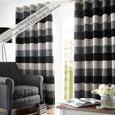bromley stripe lined eyelet curtains slate