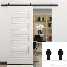 2018 5 16ft decorative single wood sliding barn door hardware cabinet closet kit bending t formed style rolling flat track set black from sun shine