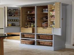 free standing kitchen pantry. Simple Kitchen Set With Gray Painted Free Standing Pantry Cabinet, Wicker Basket Storage, S