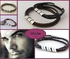 mens spinning secret message sterling silver leather bracelet custom engraved perfect gift for him