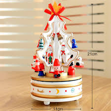 Christmas decorations for home wooden rotating christmas tree music box gift desktop ornament-in Music Boxes from Home