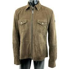details about hugo boss orange tag brown suede goat leather jacket coat zipper pocket mens 44r