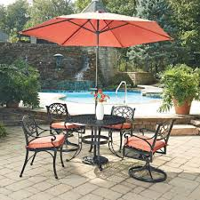 home styles biscayne black 7 piece cast aluminum outdoor dining set with c cushions