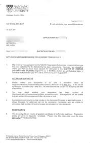 admission offer from ntu singapore master student life in ntu admission offer letter from ntu singapore