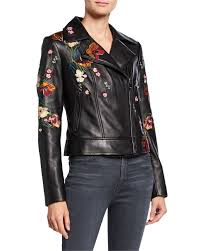 Neiman Marcus Classic Size Chart Floral Embroidered Leather Moto Jacket