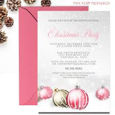 Christmas Party Invitation Blue Or Pink Ornaments Holiday Party Invite