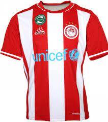adidas unicef Trikot FC Olympiakos Piräus lässiges Kinder Sport-Shirt mit  Streifen Rot/Weiß