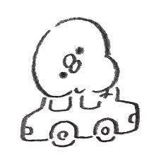 車の上に乗っかっているひよこ ゆるくてかわいい無料イラスト素材屋