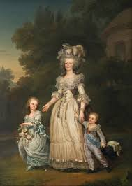 1785 6 marie antoinette walking in the park at versailles with her children louis