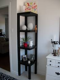 furniture: Black Shelf As Decorating Corners And Floating Contents Near  Interesting Console Used Dark Handles